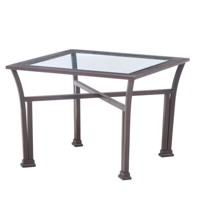 Bronze-Patinated Metal and Glass Top Side Table
