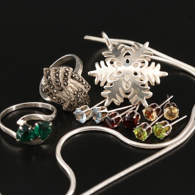 Sterling Jewelry Assortment with Multicolor Studs, Rings and Snowflake Pendant