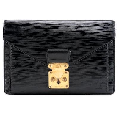 Louis Vuitton Draggone Clutch in Black Epi Leather
