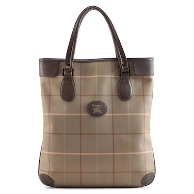 Burberrys Check Canvas and Brown Saffiano Leather North South Tote Bag