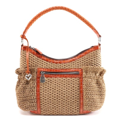 Brighton Woven Jute Tote Bag with Embossed and Braided Leather