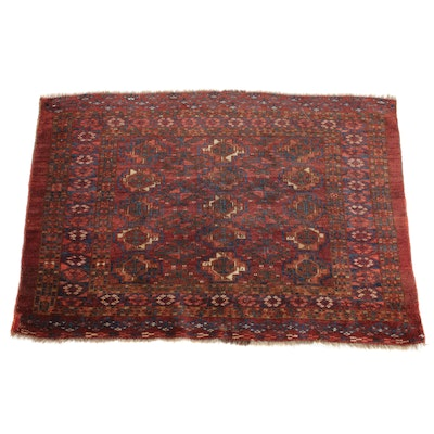 3'4 x 4'6 Hand-Knotted Persian Turkoman Rug, 1900s