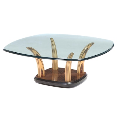 Henredon Contemporary Glass Top and Mixed Wood Coffee Table