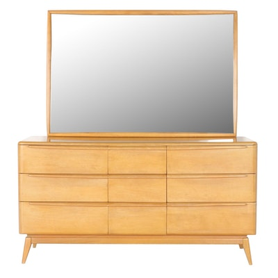 Heywood-Wakefield Modernist Chest of Drawers with Mirror, Mid-20th Century