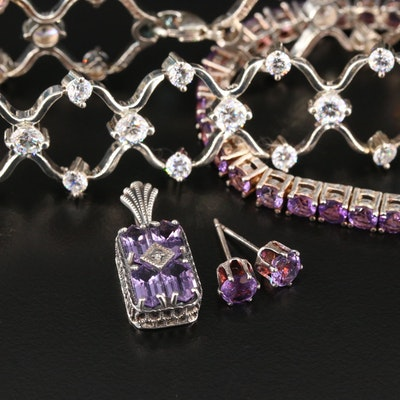 Sterling Silver Jewelry Selection Featuring Amethyst and Cubic Zirconia
