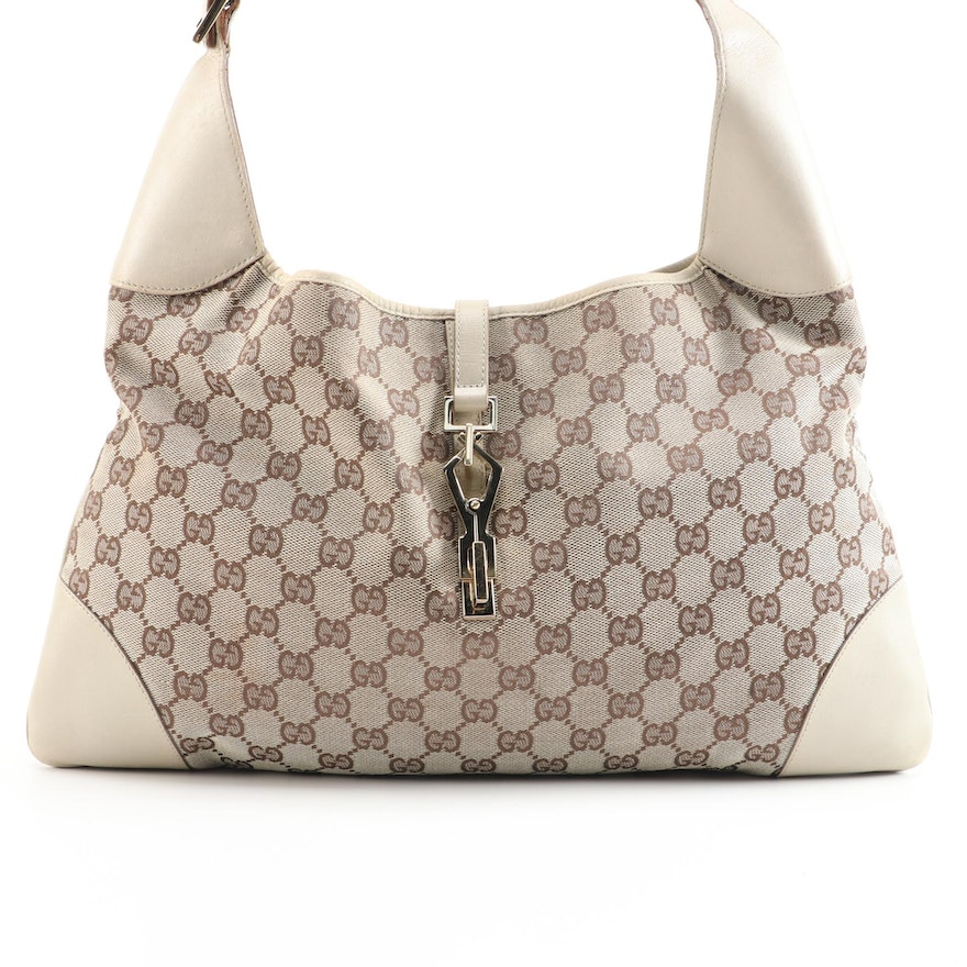 Gucci GG Canvas and Leather Hobo Bag