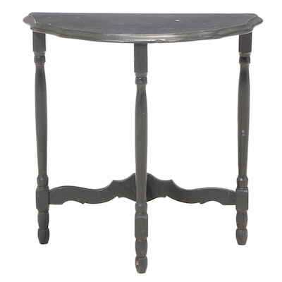 Dark Green-Painted Demilune Side Table with Scalloped Top, 20th Century
