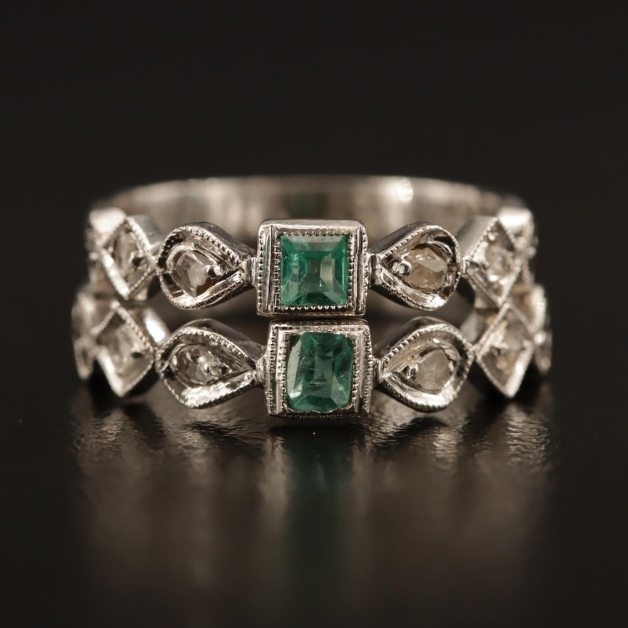 10K Emerald and Diamond Rings