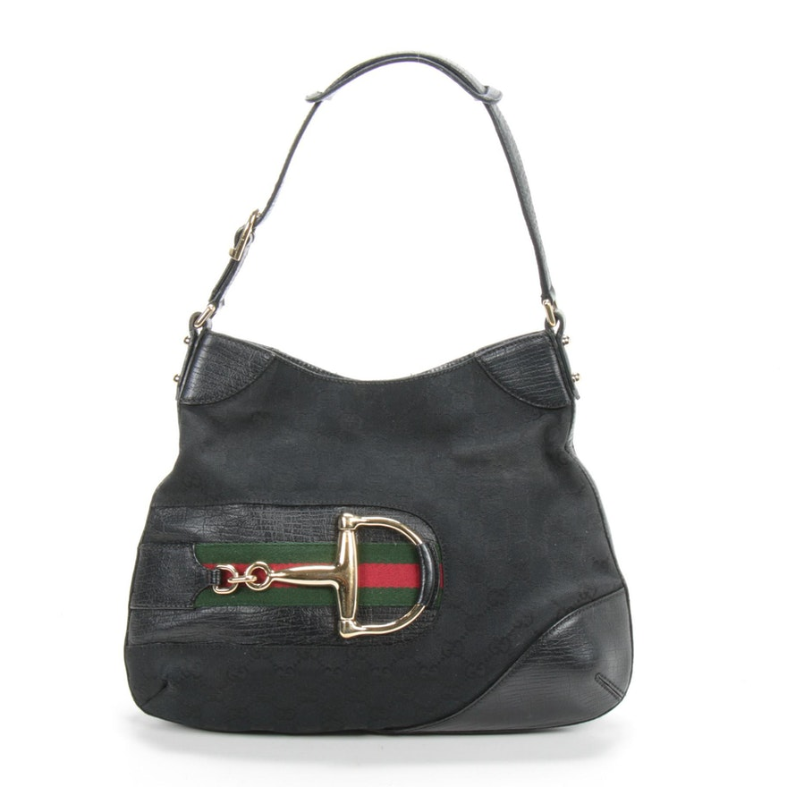 Gucci Jackie GG Horsebit Shoulder Bag in Black Monogram Canvas and Leather