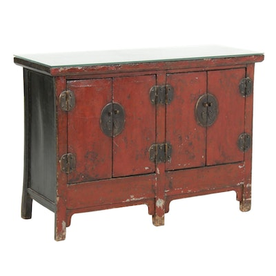 Chinese Red and Black Lacquered Cabinet, Late 19th to Early 20th Century