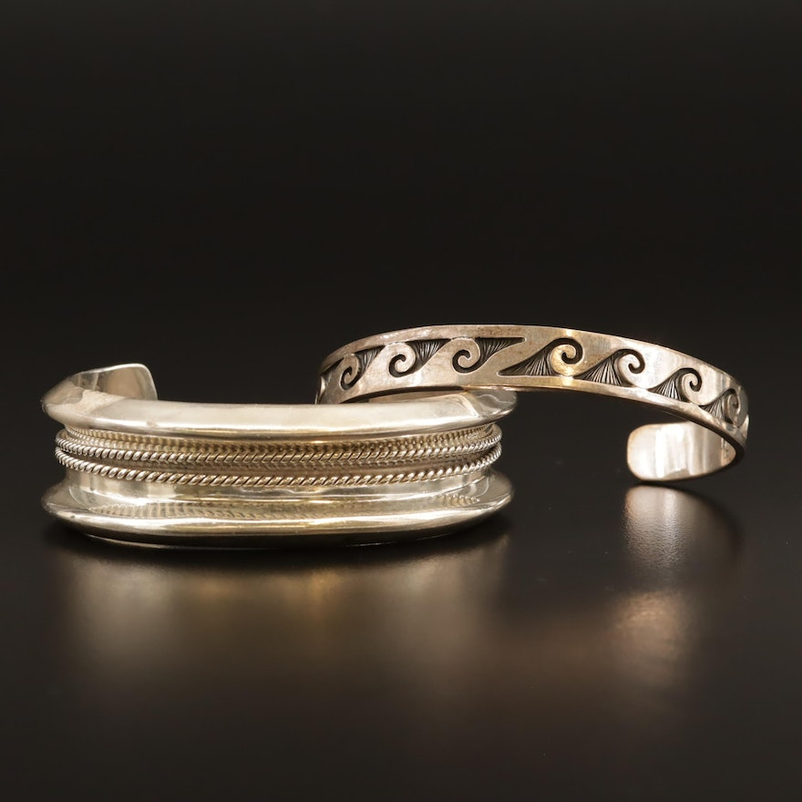 Mexican Sterling Silver Patterned Cuffs