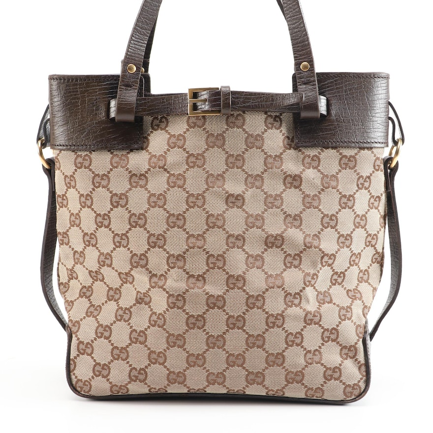 Gucci GG Canvas and Brown Grained Leather Handbag