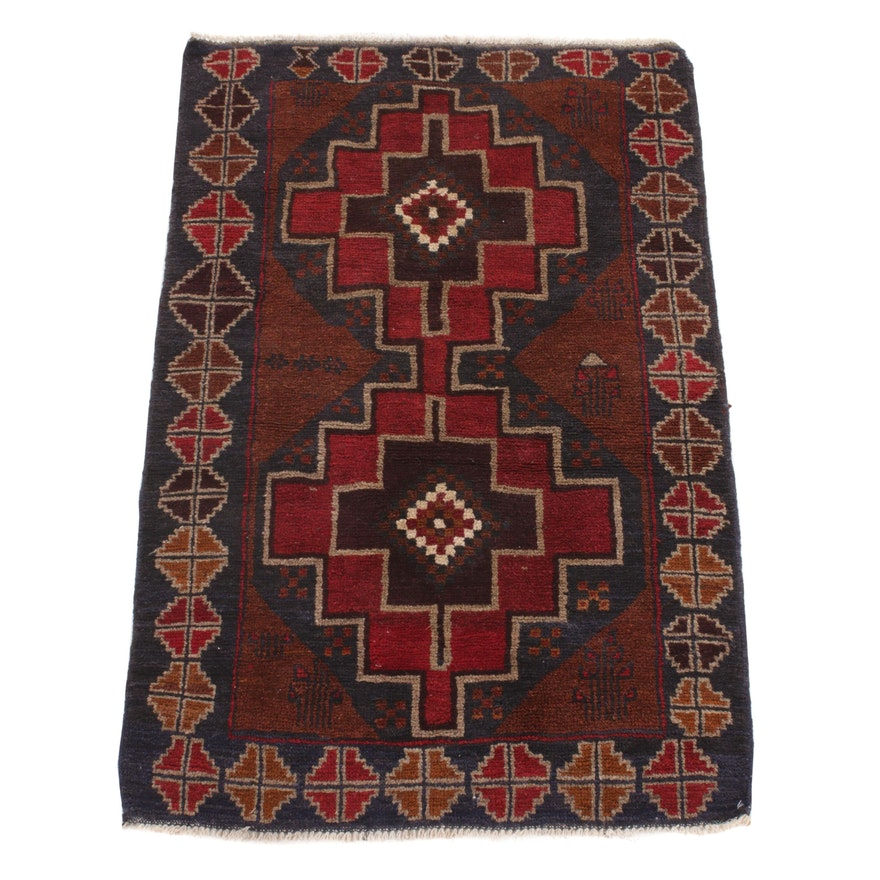 2'10 x 4'5 Hand-Knotted Afghani Turkoman Rug, 1990s