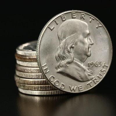 Nine Franklin Silver Half Dollars
