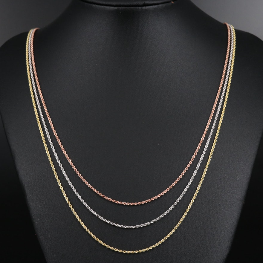 14K Tri-Color Triple Rope Chain Necklace