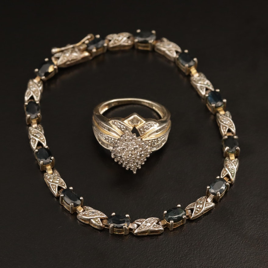 """Sterling Sapphire and Diamond """"X"""" Link Bracelet and Diamond Ring"""