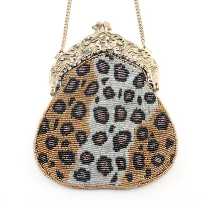 Christiana Hand Beaded Evening Bag with Chain Strap