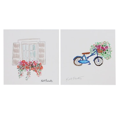 """Kait Roberts Mixed Media Paintings """"Home"""" and """"I Went to the Garden"""", 2019"""