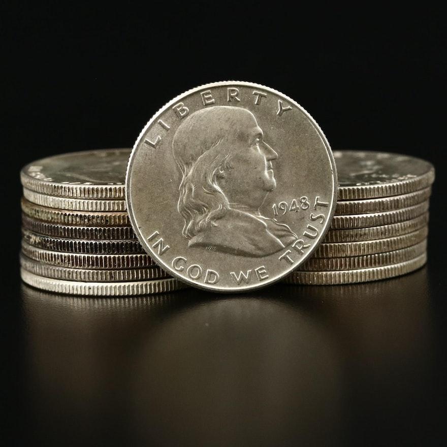 Sixteen Franklin Silver Half Dollars, 1948-1949