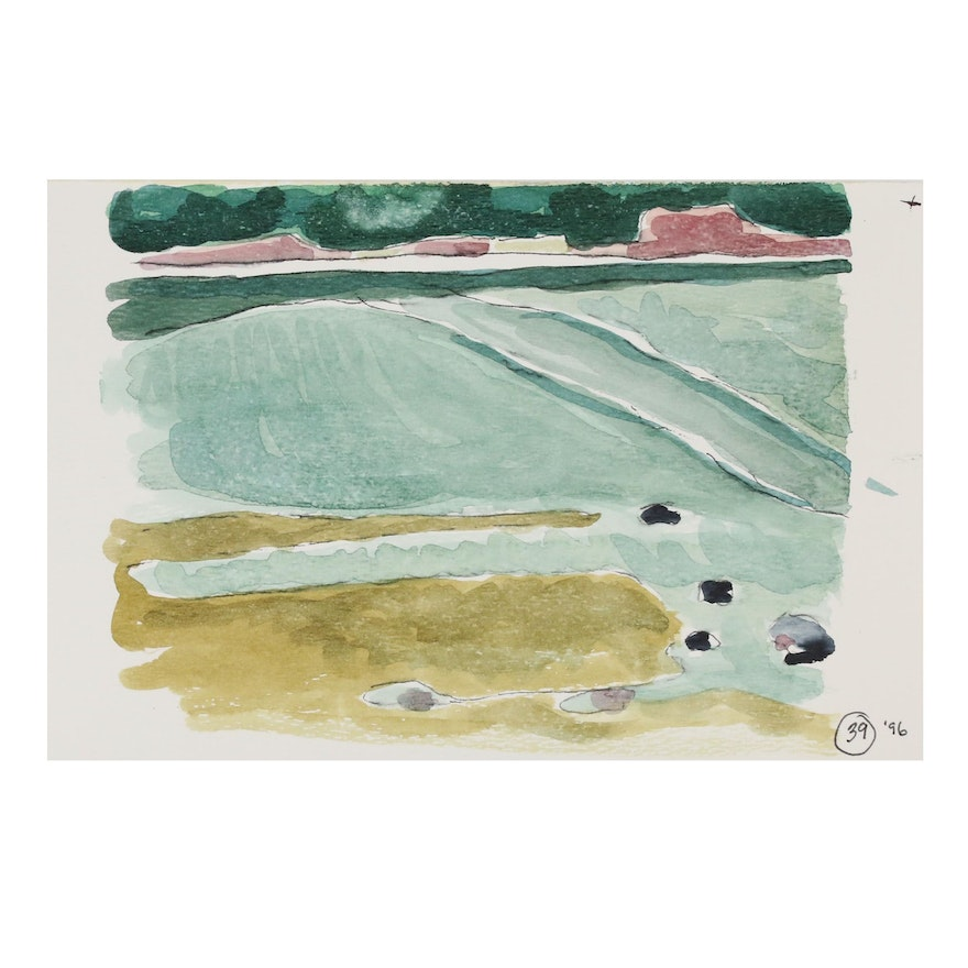 Robert Herrmann Abstract Landscape Watercolor Painting, 1996