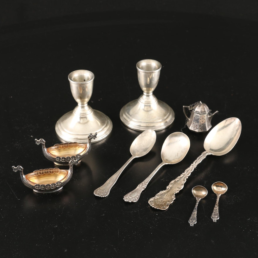 830 Silver Viking Ship Salts with Spoons, and Sterling Silver Table Accessories