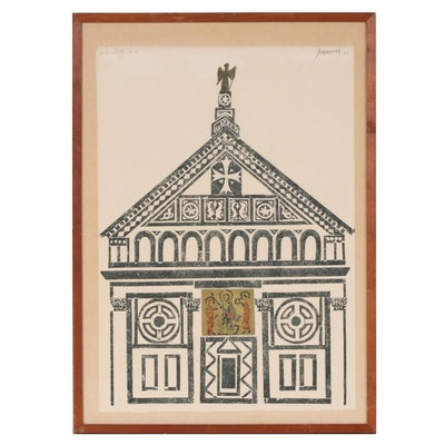 "Antonio Frasconi Woodcut ""San Miniato II"", 1967"