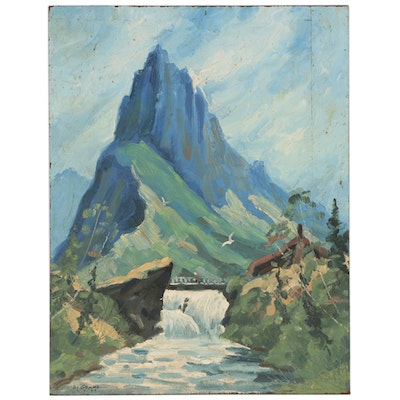Joseph Di Gemma Landscape Oil Painting of Mountains and Waterfall, 1960