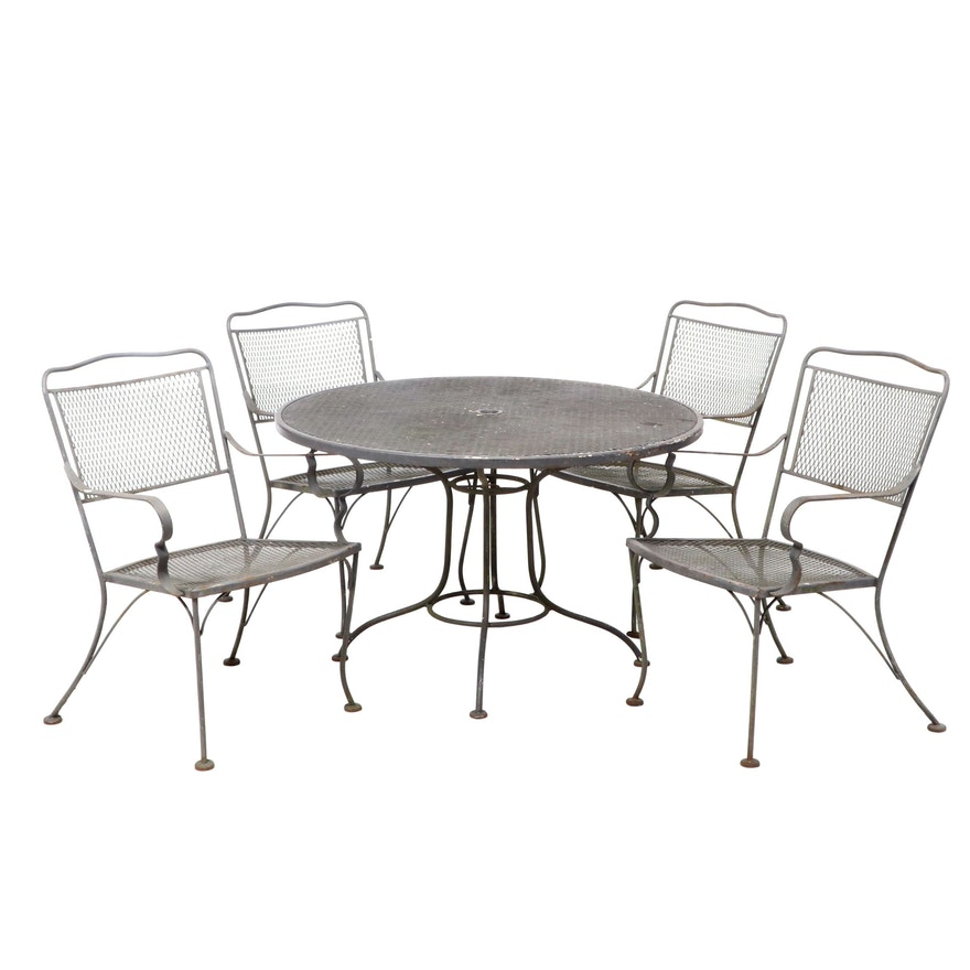 Five-Piece Wire Mesh Patio Dining Set, Mid to Late 20th Century