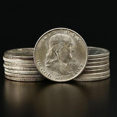 Fifteen Franklin Silver Half Dollars