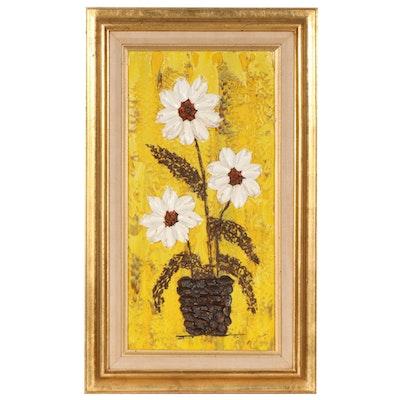 Mid Century Modern Impasto Oil Painting of Floral Still Life, 1968