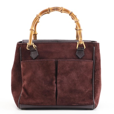 Gucci Bamboo Dark Purple Suede Handbag