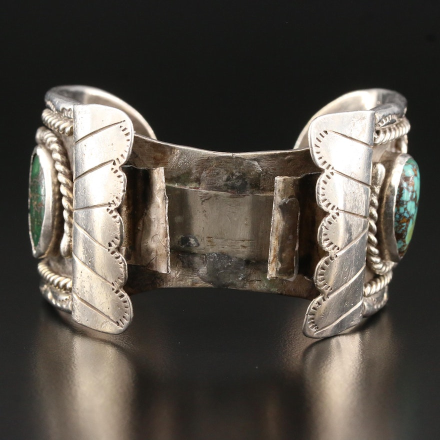 Southwestern Style Sterling Silver Turquoise Oval Watch Cuff