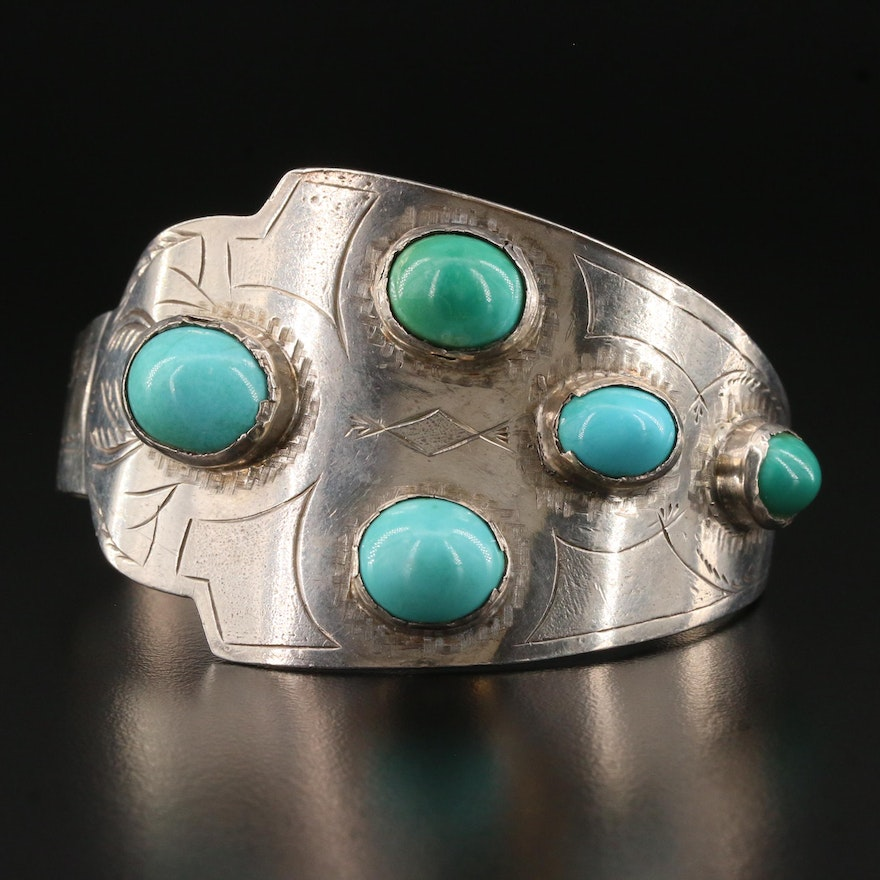 Sterling Silver Turquoise Engraved Cuff