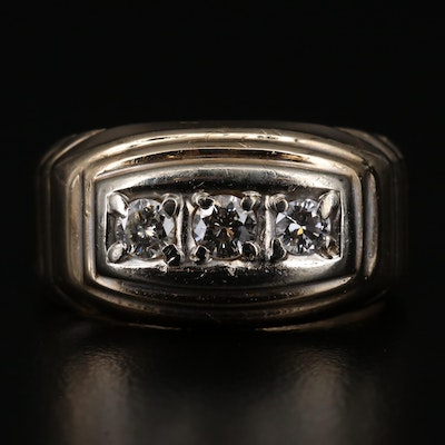 14K Diamond Three Stone Ring