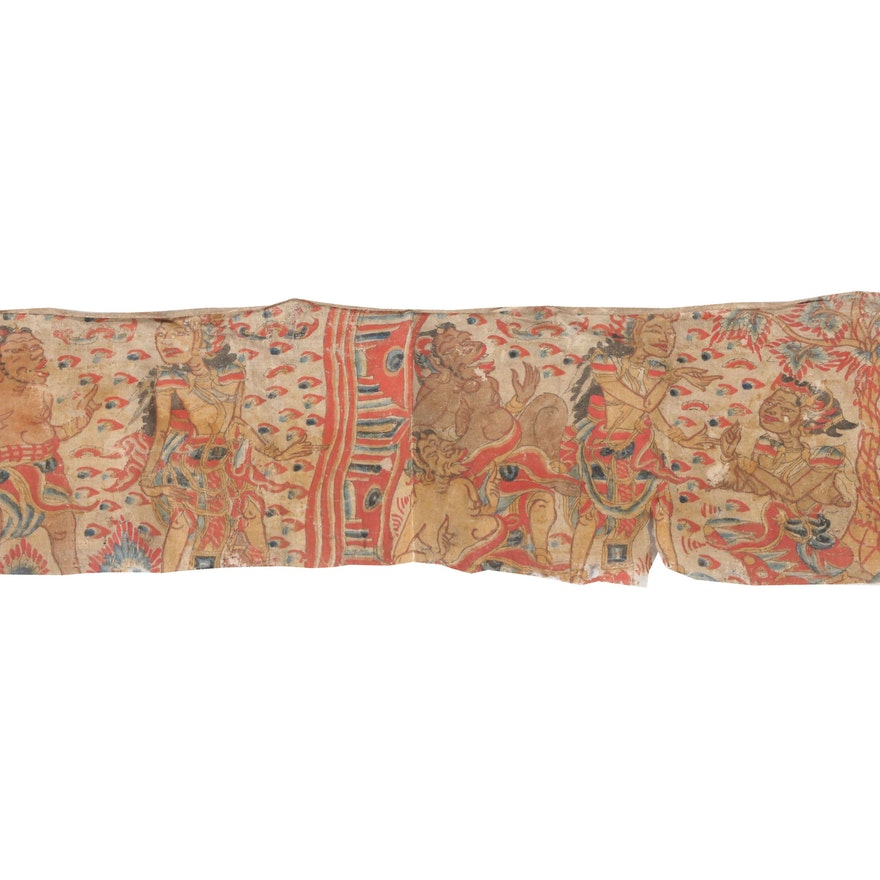Balinese Kamasan Painting on Calico Cloth, 19th to 20th Century