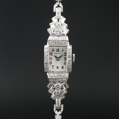 Hamilton Platinum and 2.77 CTW Diamond Wristwatch