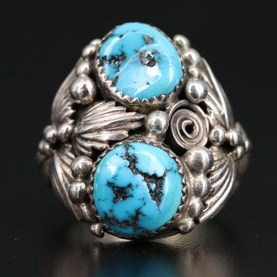 Signed Western Sterling Silver Turquoise Ring