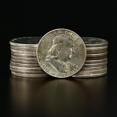 Twenty-One Franklin Silver Half Dollars