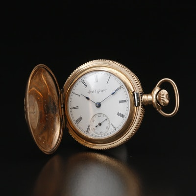1900 Elgin Green and Rose Gold Filled Diamond Pocket Watch