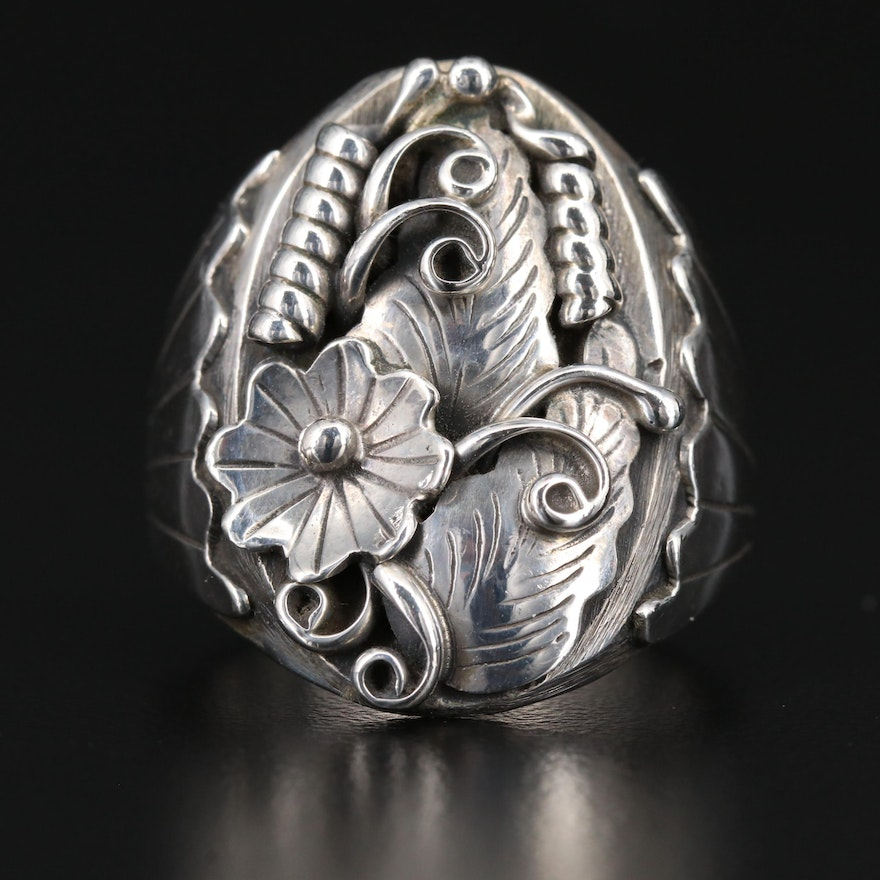 Signed Southwestern Style Sterling Silver Ring