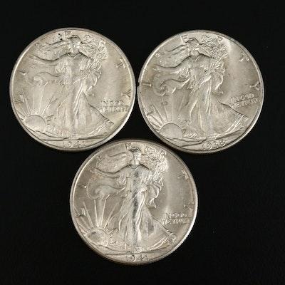1938, 1941 and 1941-D Walking Liberty Silver Half Dollars