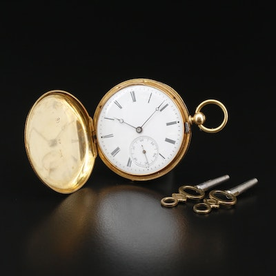 Antique Meylan-Golay 18K Gold and Enamel Key Wind Hunting Case Pocket Watch