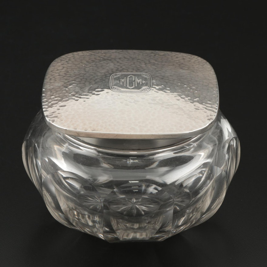 Wallace Arts and Crafts Hammered Sterling and Cut Glass Powder Jar