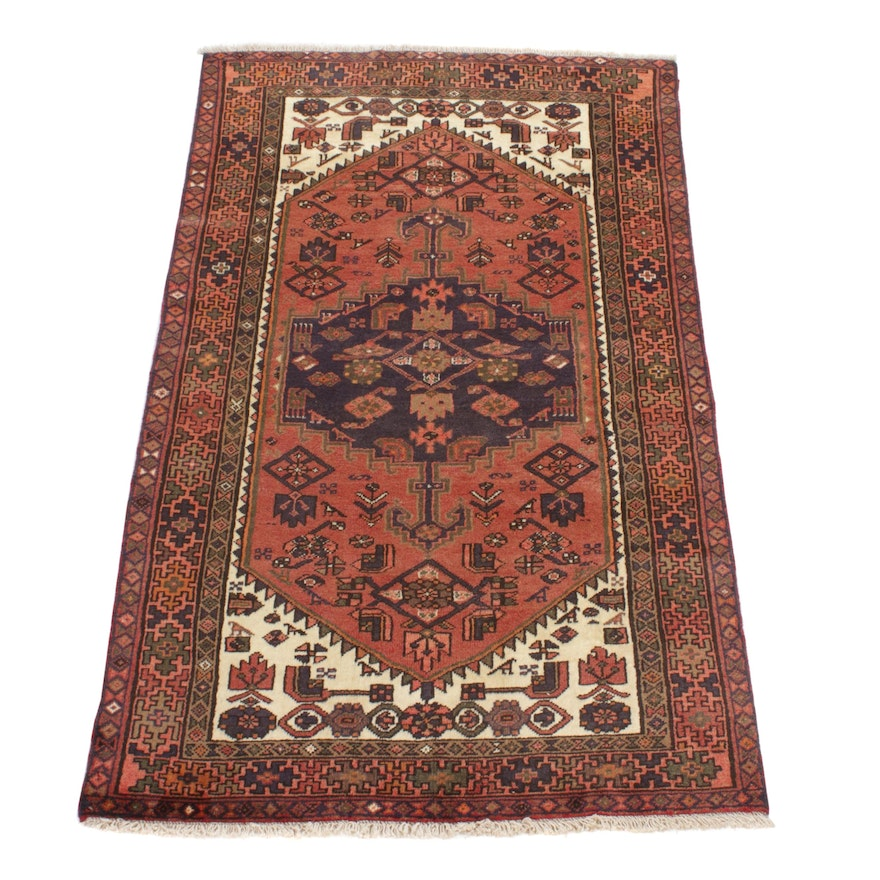 4' x 6'8 Hand-Knotted Persian Zanjan Pictorial Rug, 1990s