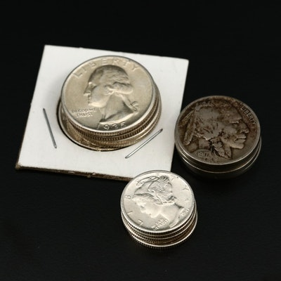 Collection of Silver Coinage, Including Silver Type Quarters and Mercury Dimes