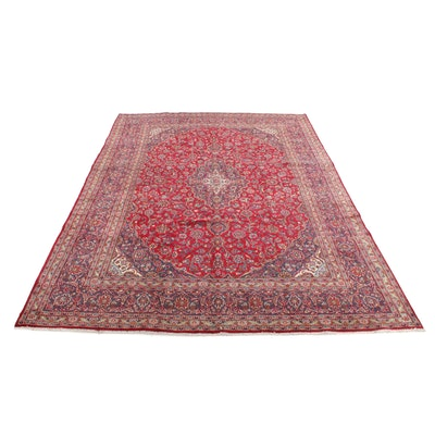 9'4 x 13' Hand-Knotted Persian Mashad Room Sized Rug, 1970s