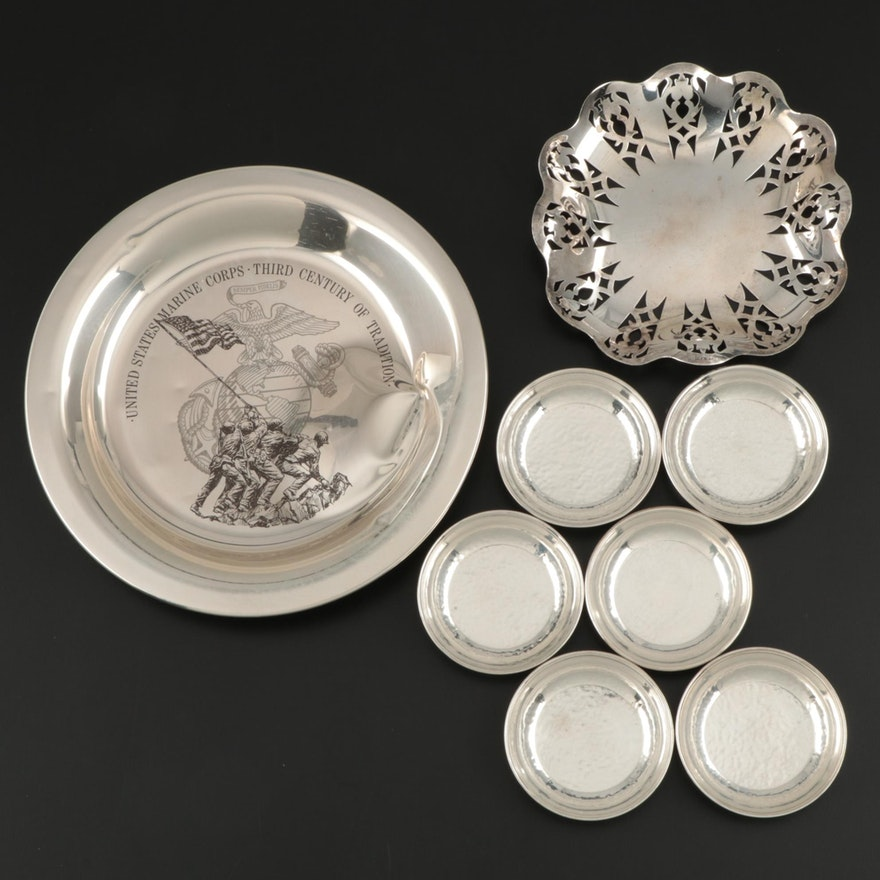 George A. Henckel & Co. Hammered Sterling Butter Pats and Other Silver Tableware