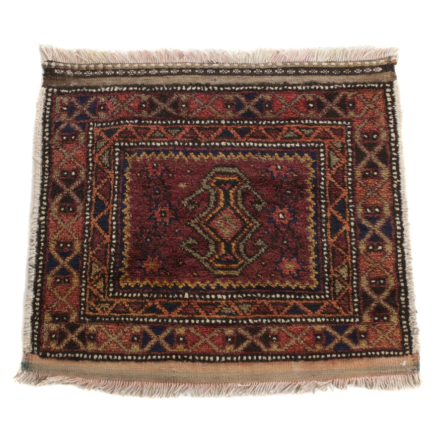 1'9 x 2' Hand-Knotted Persian Balouch Rug, 1920s