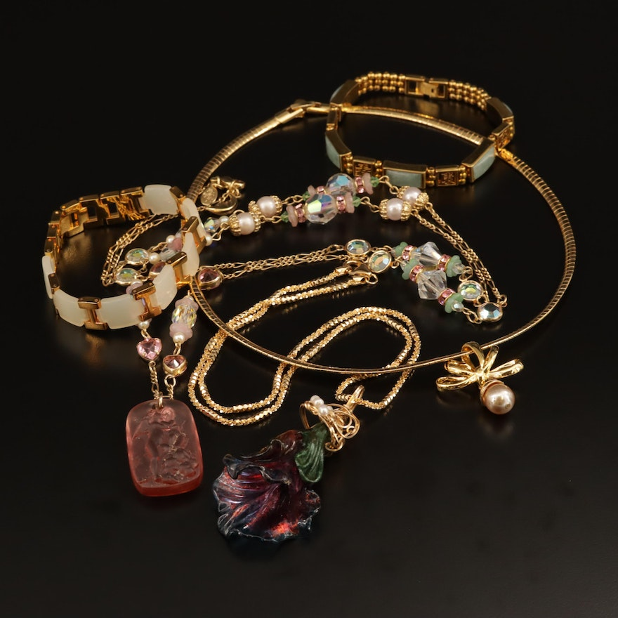 Jewelry Selection Featuring Jadeite and Nolan Miller Necklace