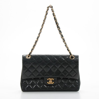 Chanel Classic Double Flap Chain Strap Shoulder Bag in Quilted Black Lambskin